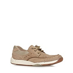 Clarks - Taupe 'Allston Edge' casual lace up shoes