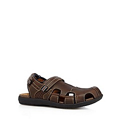 Clarks - Brown leather rip tape sandals