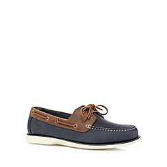Clarks - Navy 'Port View' leather boat shoes