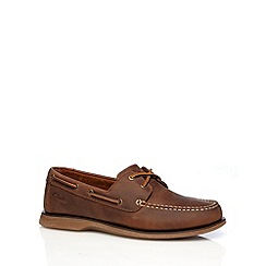 Clarks - Brown 'Port View' leather boat shoes