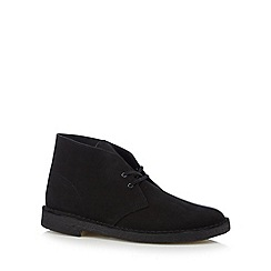 Clarks - Black suede lace up desert boots