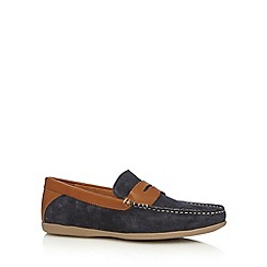 Red Herring - Navy suede driving sole loafers