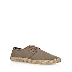 Red Herring - Khaki straw plait lace up shoes