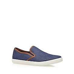 Red Herring - Navy tipped chambray slip on shoes