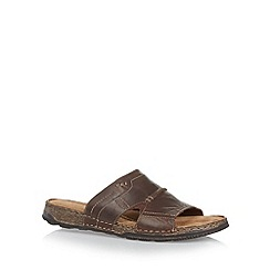Mantaray - Chocolate leather mule sandals