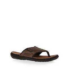 Mantaray - Chocolate Leather Toe Thong Sandal