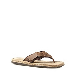 Mantaray - Chocolate leather toe post sandals