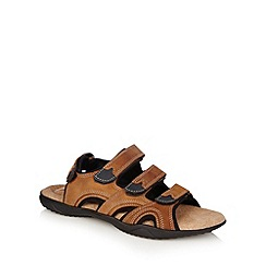 Mantaray - Dark tan leather rip tape sandals