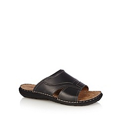 Mantaray - Black leather mule sandals
