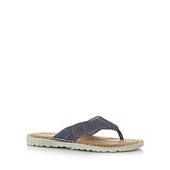 Mantaray - Blue leather toe post sandals