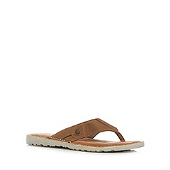 Mantaray - Khaki coloured toe post sandals