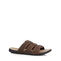 Hush Puppies - Brown leather mule flip flops