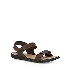 Hush Puppies - Brown leather rip tape sandals
