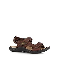 Hush Puppies - Brown leather rip tape flip flops