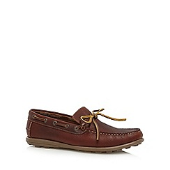 Hush Puppies - Dark brown leather bow detail boat shoes