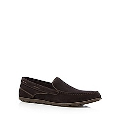 Rockport - Chocolate 'Adiprene' suede slip on shoes