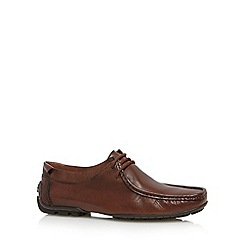 Hush Puppies - Brown leather lace up moccasins