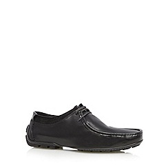 Hush Puppies - Black leather lace up moccasins