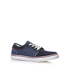FFP - Navy mixed suede lace up trainers