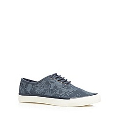 FFP - Navy floral canvas trainers