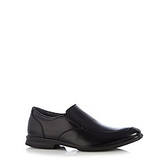 Hush Puppies - Black leather tramline slip on shoes