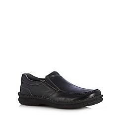 Hush Puppies - Black grained leather slip on shoes