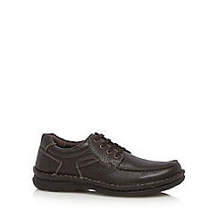 Hush Puppies - Dark brown grained leather lace up shoes