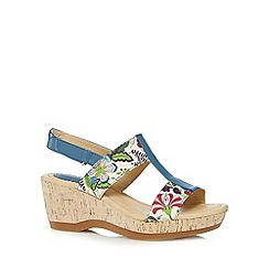 Hush Puppies - Blue floral cork mid sandals
