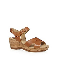 Hush Puppies - Tan leather cork mid sandals