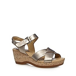 Hush Puppies - Metallic leather cork mid sandals
