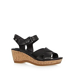 Hush Puppies - Black leather cork mid sandals