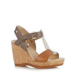 Hush Puppies - Tan leather colour block strap high wedge sandals