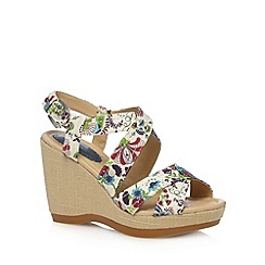 Hush Puppies - Natural floral straw wedge high sandals