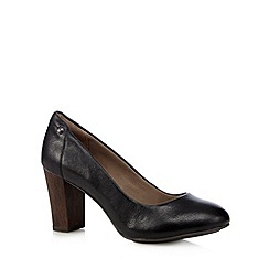 Hush Puppies - Black leather round toe high pumps