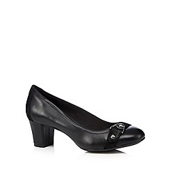Hush Puppies - Black leather mock croc mid court shoes