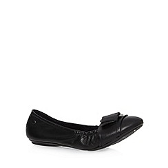 Hush Puppies - Black leather buckle slip on shoes