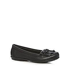 Hush Puppies - Black leather fringe slip on shoes