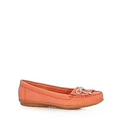 Hush Puppies - Dark peach leather fringe slip on shoes