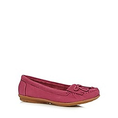 Hush Puppies - Pink leather fringe slip on shoes