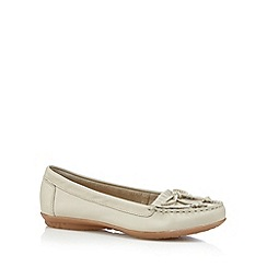 Hush Puppies - Off white leather fringe slip on shoes