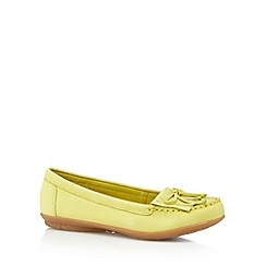 Hush Puppies - Pale yellow leather fringe slip on shoes
