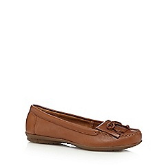 Hush Puppies - Tan leather fringe slip on shoes