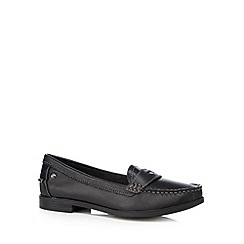 Hush Puppies - Black leather blend cushioned low slip on shoes