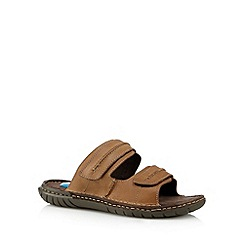 Henley Comfort - Tan leather 'Airsoft' mule sandals