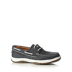 Maine New England - Navy leather casual boat shoes