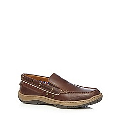Maine New England - Brown leather apron front boat shoes