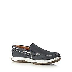 Maine New England - Navy leather apron front boat shoes