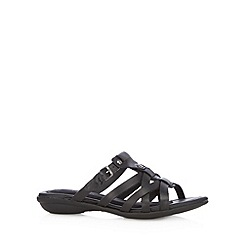 Hush Puppies - Black leather cross over sandals