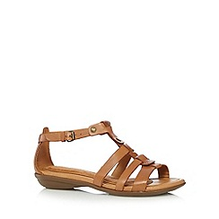 Hush Puppies - Tan leather cross over sandals