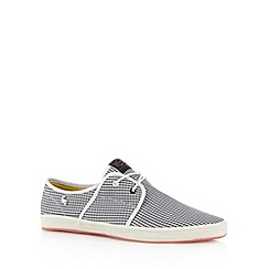 Fish 'N' Chips - Black canvas two eyelet plimsolls